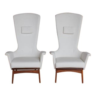 1960's Vintage Adrian Pearsall Sculptural High-Back Lounge Chairs- A Pair For Sale