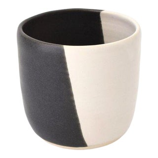 Contemporary Handmade Black and White Tumbler by FisheyeCeramics For Sale