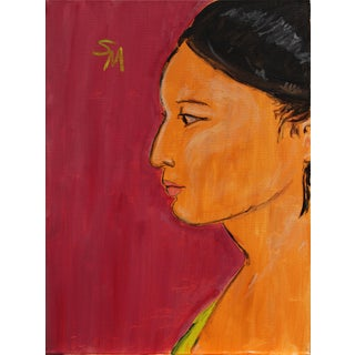 """Sarah Myers Contemporary """"Profile of a Woman"""" Acrylic Painting For Sale"""