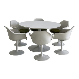 Mid Century Arthur Umanoff White Tulip Dining Set - 7 Pieces For Sale