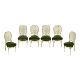 Louis XVI Caned Back Green Leather Seat Dining Chairs - Set of 6 For Sale