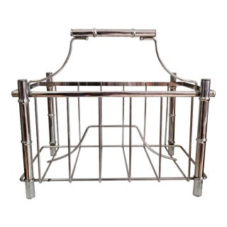 Hollywood Regency Faux Bamboo Chrome Magazine Holder For Sale