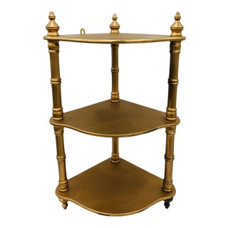 Vintage Gold Wooden Corner Shelf For Sale