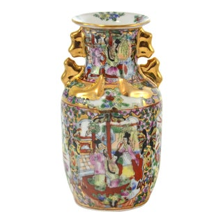Gold-Encrusted Famille Rose Vase For Sale