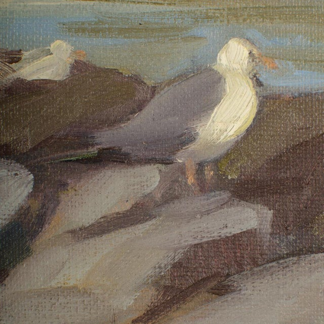 """Late 20th Century """"Seagulls on the Rocks"""" Coastal Oil Painting by Alison Hill, Framed For Sale In Philadelphia - Image 6 of 9"""