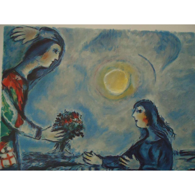"""Vintage Marc Chagall Reproduction """"Lovers Over Paris"""" Print For Sale In New York - Image 6 of 11"""