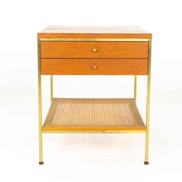 Paul McCobb for Calvin Group Mid Century Oak and Brass Nightstand Nightstand measures: 20 wide x 20 deep 24.25 inches high...