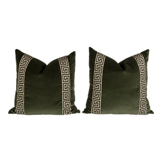 Moss Green Velvet Greek Key Pillows, a Pair For Sale