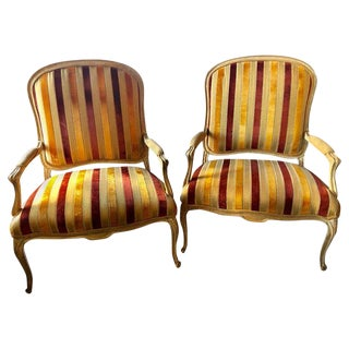Hollywood Regency Oversized Distressed Finish Louis XV Style Marquis Chairs Pair For Sale