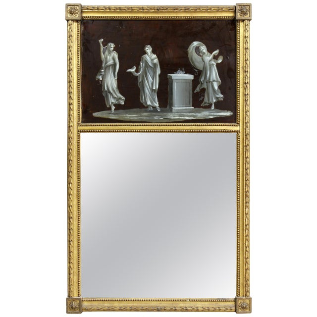Brown Dutch Neoclassic Giltwood and Reverse Painted Mirror For Sale - Image 8 of 8