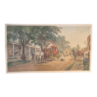 "1883 Antique Klackner Edward Lamson Henry ""Changing Horses"" NY Stagecoach Scene Chomolithograph Print For Sale"