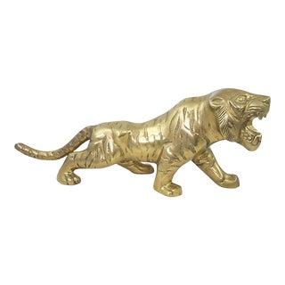 Large Midcentury Brass Tiger For Sale