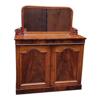 Victorian Mahogany Sideboard Cabinet W/ Mirror C.1870s For Sale