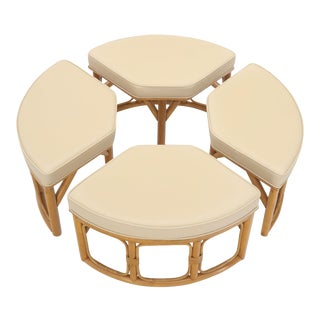 4 Pieces Round Rattan Base Large Wrap Around Sectional Ottoman For Sale
