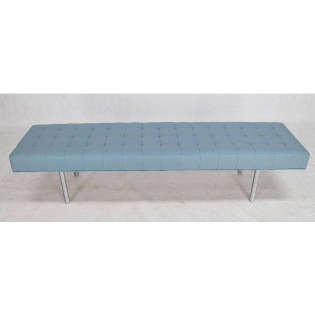 Tufted Light Blue Upholstery Chrome Cylinder Legs Long Bench Almost Daybed For Sale - Image 9 of 9