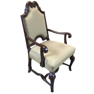 Flemish Style Armchair with Upholstered Backrest and Seat by William Switzer