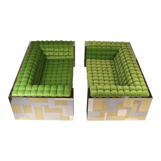 Pair of Cityscape Settees Designed by Paul Evans for Directional C. 1970 For Sale
