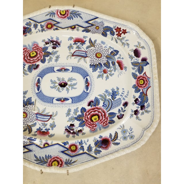 Circa 1820 John William Ridgeway serving platter with plate hanger . This has a sheild on the back with Columbia Stone...