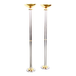 Vintage Hollywood Regency Chrome & Brass Torchiere Floor Lamps - a Pair For Sale