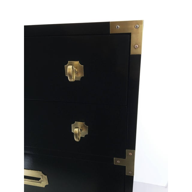 Pair of Black Lacquered Campaign Chests of Drawers For Sale In Dallas - Image 6 of 8