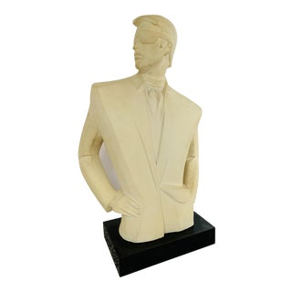 Modernist Nagel Style David Fisher Handsome Man Art Deco Hollywood Regency Inspired Austin Sculpture For Sale