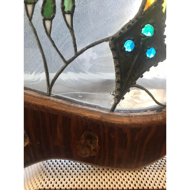 Glass Dragon Stained Glass Panel Artist Signed With Wood Frame For Sale - Image 7 of 11