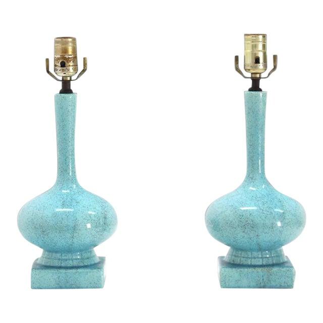 Vintage Mid Century Pottery Blue Glaze Onion Shape Table Lamps- a Pair For Sale