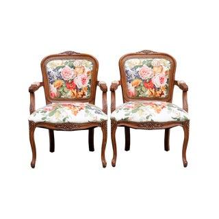 Louis XV Style Floral Fauteuils, a Pair