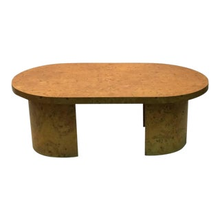 Burlwood Coffee Table With Oval Design Top in the Style of Milo Baughman For Sale