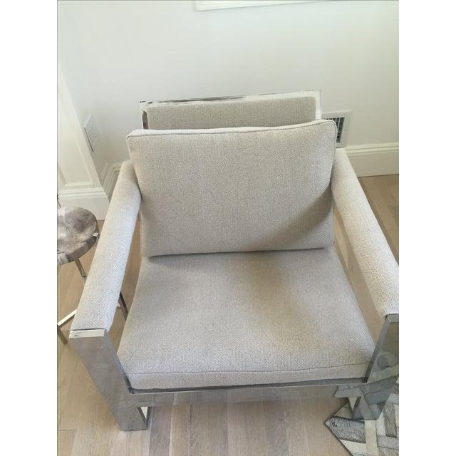 Vintage Belgian Linen & Chrome Chair - Image 3 of 5