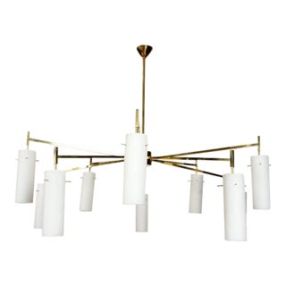 Italian Brass Chandelier With Ten Arms For Sale