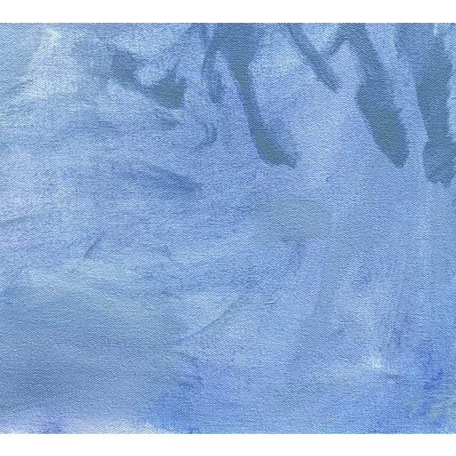 """Mid-Century Modern """"Blue Zen"""" by Trixie Pitts Abstract Oil Painting For Sale - Image 3 of 13"""