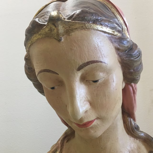 Paper Hand Painted Paper Mache Female Bust For Sale - Image 7 of 11