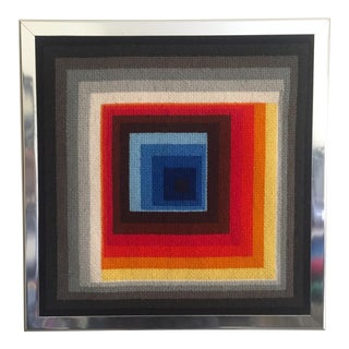 Vintage Op Art Needlepoint Geometric Textile Art For Sale