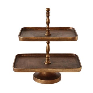 Antiqued Brass Two Tier Rectangular Serving Tray