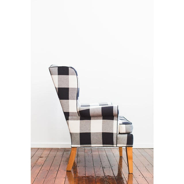 Contemporary Black & White Buffalo Check Wingback Chair For Sale - Image 3 of 4