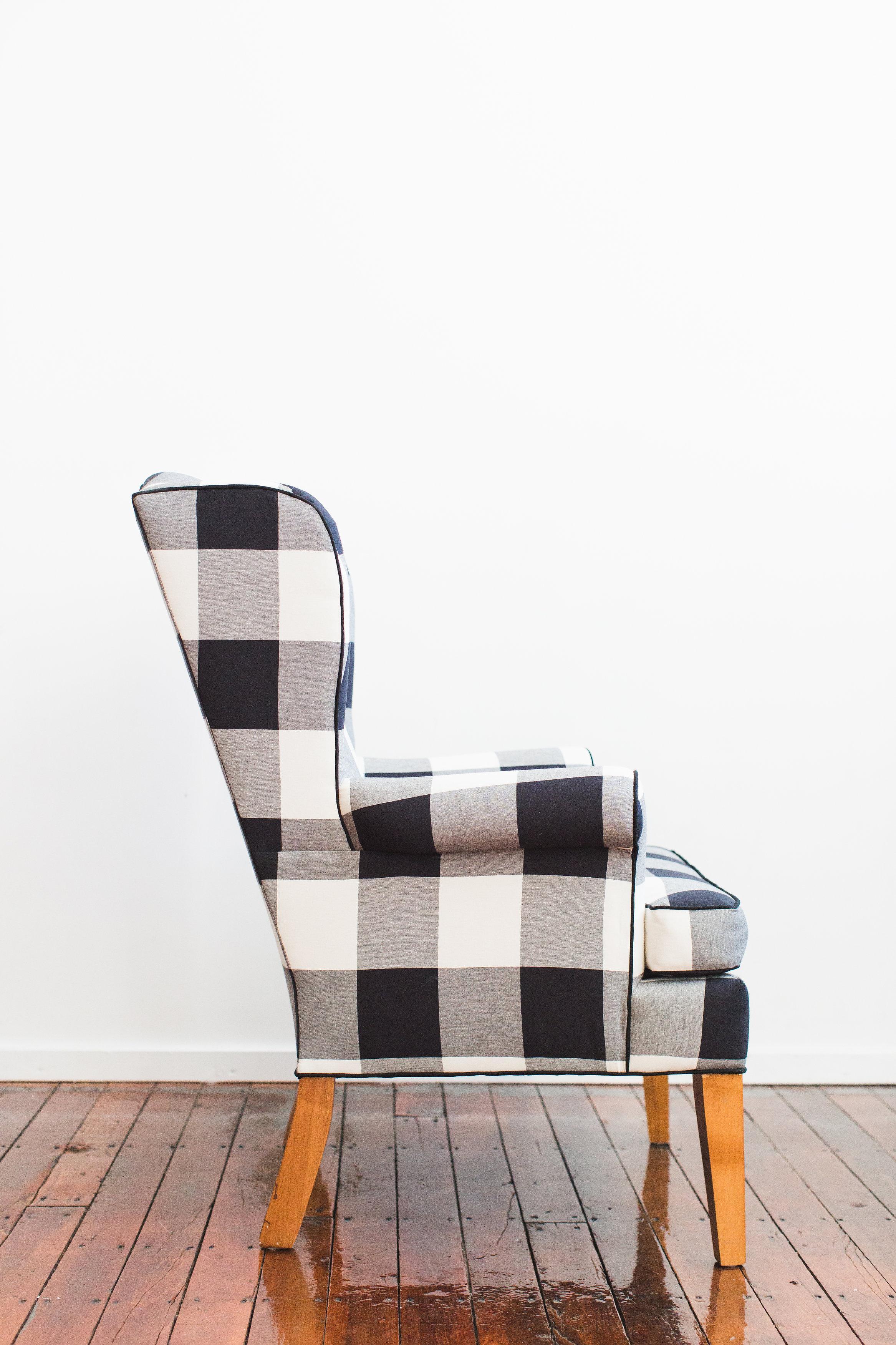 Genial Black U0026 White Buffalo Check Wingback Chair   Image 3 ...