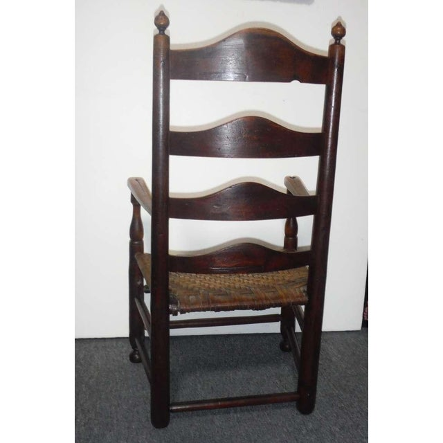 Rare 18th c. Delaware River Valley Ladder Back Side Chair - Image 5 of 8