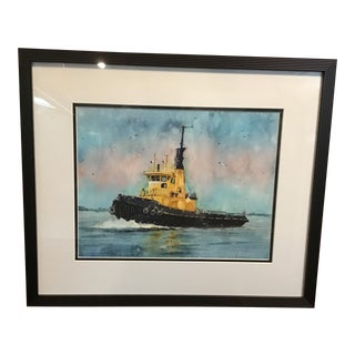 """""""Yellow Tugboat"""" Contemporary Nautical Watercolor Painting, Framed For Sale"""