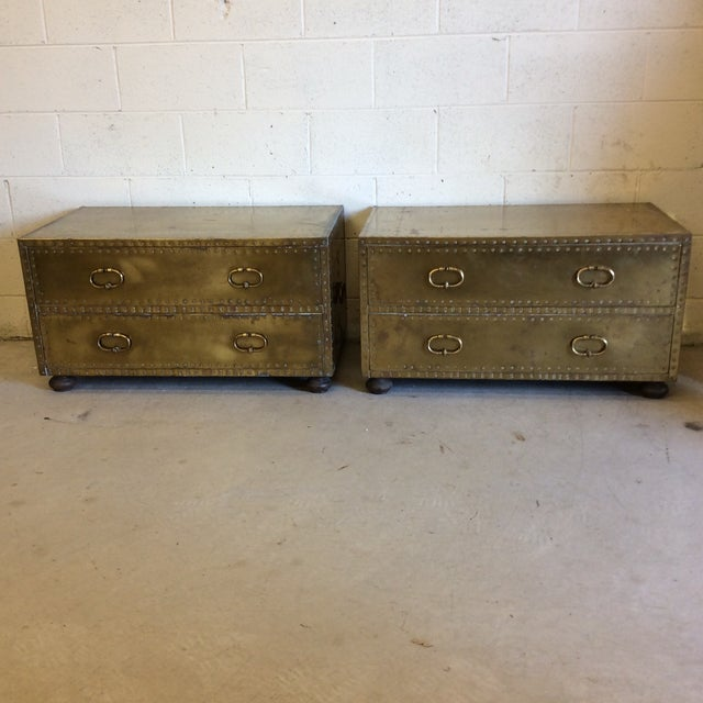 Sarreid Brass Chests Trunks- A Pair - Image 2 of 11
