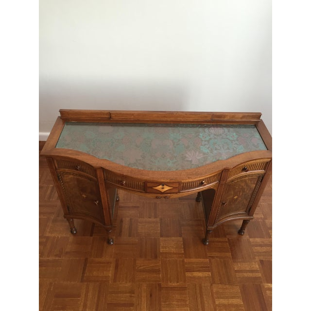 Bow Front Tapestry Top Inlaid Wooden Writing Desk - Image 3 of 10