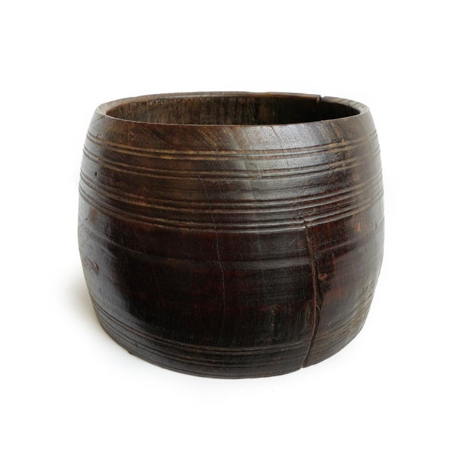 Old wood container / pot from Nepal. Hand carved original storage container with beautiful aged patina. Wonderful display...