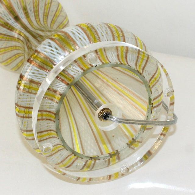 Mid-Century Murano Latticino Glass Lamp For Sale - Image 6 of 9