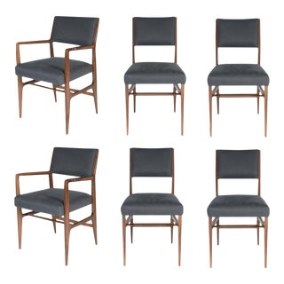 Customizable Set of Six Maze Walnut Dining Chairs For Sale