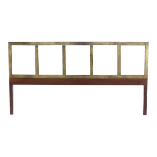 Mid-Century Modern Brass and Wood King-Size Headboard For Sale