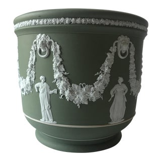 Antique Wedgwood Sage Green Jardiniere Pot For Sale