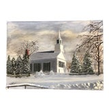 Image of Vintage Original Impressionist Painting Church in Snow Signed 1960's For Sale