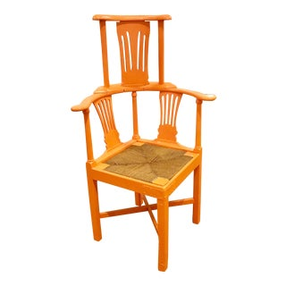 1920s Antique Orange Corner Chair For Sale