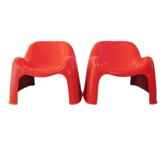 Vintage Artemide Red Toga Chairs - A Pair
