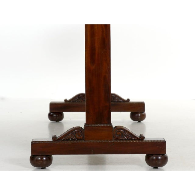 19th Century English George IV Antique Writing Table Desk W/ Leather Top For Sale - Image 11 of 13